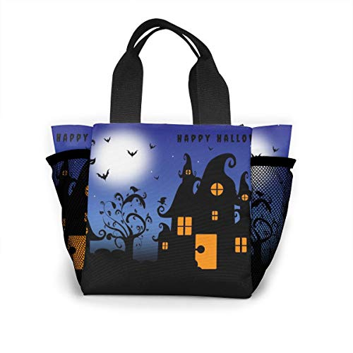 Lunch Bag Happy-halloween-wallpapers-wide-For-Desktop-Wallpaper For Men Women, Meal Lunch Tote Handbag Food Boxes, Durable Pouch For
