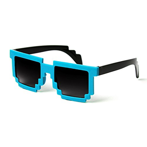 Minecraft Costumes For Free (MJ Boutique's 8-Bit Aqua Blue & Black Sunglasses Video Game FREE POUCH)