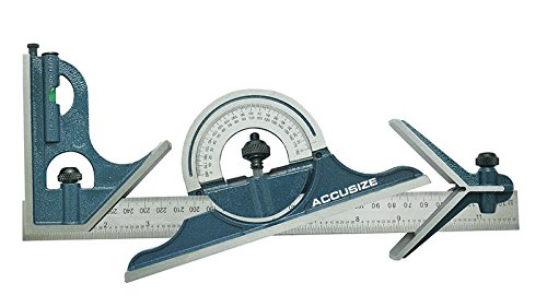 (Accusize Industrial Tools 12'' 4r, 4Pcs/Set, Combination Square Ruler Protractor Set, 0000-8101 )