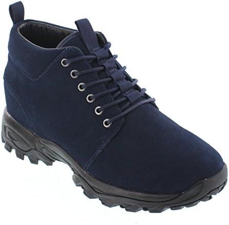 メンズ 目に見えない高さには、エレベーターの靴を増やす - ネイビーブルースエードレースアップハイキングブーツ - 3.2インチ背の高いです