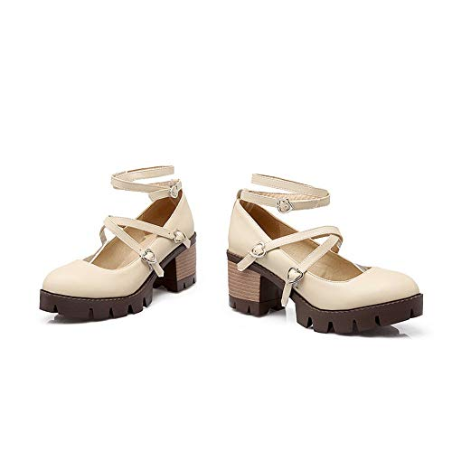 Womens BalaMasa Pumps Platform Beige Solid Shoes APL10544 Urethane Herringbone dCrqxC