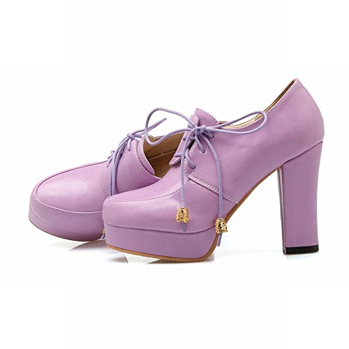 Carolbar Womens Lace Up Lolita Cosplay Sweet Retro Platform High Heel Ankle Boots Purple dzHcLd