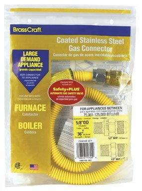 BrassCraft CSSC45E-36 P 1/2-Inch MIP EFV x 1/2-Inch FIP x 36-Inch Safety+PLUS Gas Appliance Connector, 5/8-Inch, OD 125,000 BTU