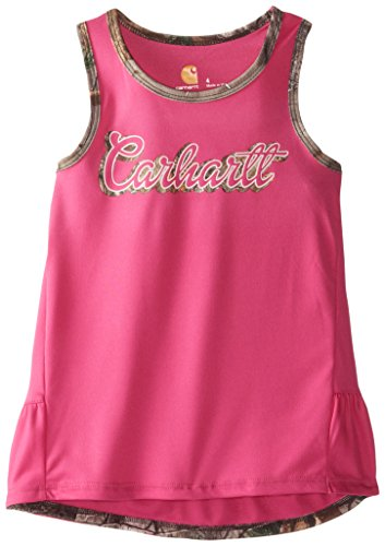 (Carhartt Girls' Little CG Camo Accents Tank, Dark Pink, 6 )