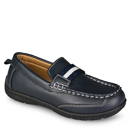 [SCS802P-NVY-T8] Shoe Shox Loafers for Boys & Toddlers – Faux Leather Moccasins, Rubber