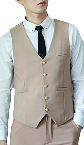 discount Fulok Mens Stylish Slim Fit Button Office Vest Jacket with Pocket for sale