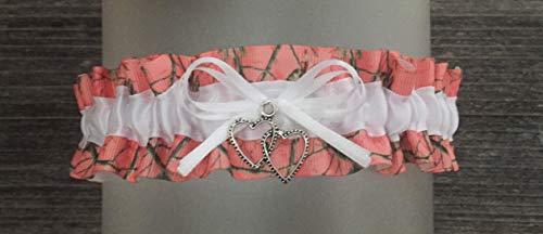 (Sexy Coral Camouflage White Satin Camo Wedding Keepsake Bridal Garter - Double Heart Charm)