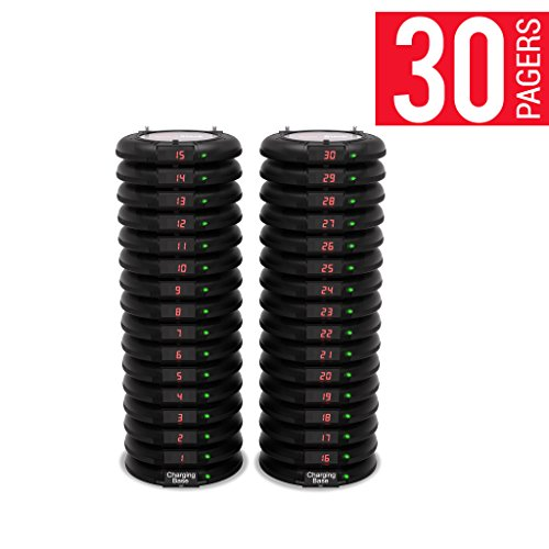 Long Range Pager Digital Coaster 2.0 Paging System, Restaurant Pager Coaster Style System,Red LED Lights (Set of 30) by Pagertec (Image #1)