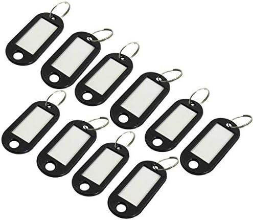 SODIAL(R) Schwarze Plastik Schluesselanhaenger / ID Anhaenger, 10 Stueck - Silberfarben, Einheitsgroesse