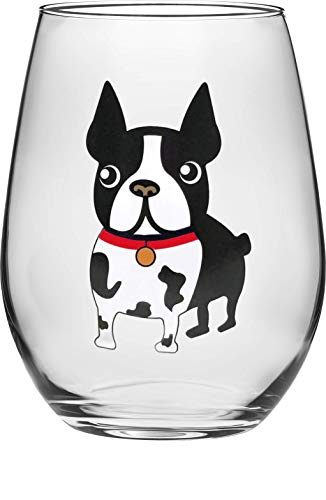 Circleware 15502 Boston Terrier Stemless Wine Glasses, Set of 2, Home & Kitchen Funny Party Dining Glassware for Water, Beer, Juice, Ice Tea, Whiskey Bar Beverage Cup Gifts, 18.9 oz, Red-Dog (Best Irish Pubs In Boston)