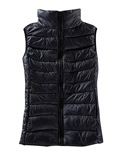 Black Coat Gilets Body Puffer Jacket Warmers Padded Down Vest Women's AnyuA Sleeveless Zipper W7nqzxA