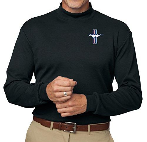Mens Ford Legend Lives Oval Mock Turtleneck Shirt (Pocket Print), 2XL Black