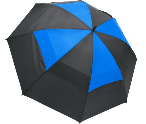 "Umbrella Nylon Windproof (ProActive Sports 62"" Wind-Cheater Vented Double Canopy Windproof Golf Umbrella (Black/Blue))"