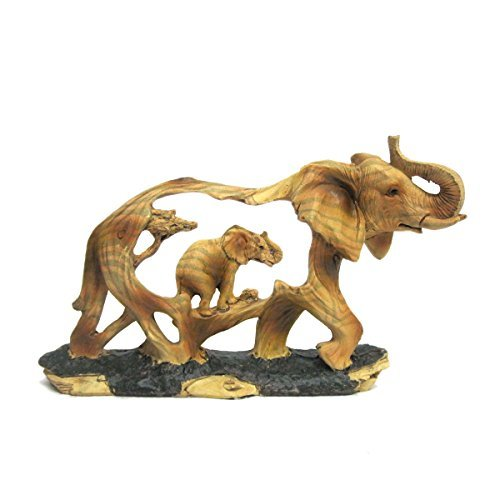 Ebros Gift Elephant and Baby Walking in The Wild Faux Wood Figurine Elephant Walking with Baby Calf Wildlife Safari Scene Sculpture