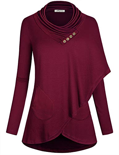 SeSe Code Women Long Sleeve Cowl Neck Asymmetric Casual Tunic Top Pocket