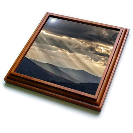 (3dRose Danita Delimont - Scenics - USA, New Hampshire, White Mountains, Sunbeams light the valley - 8x8 Trivet with 6x6 ceramic tile (trv_314931_1))