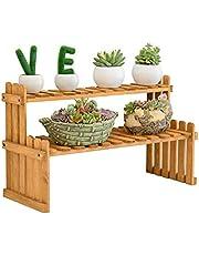 2-Tier Pine Wood Plant Racks, Indoor Outdoor Flower Ladder Shelf, Carbonized, Free Combination, in Garden Patio Balcony Rack Decorative