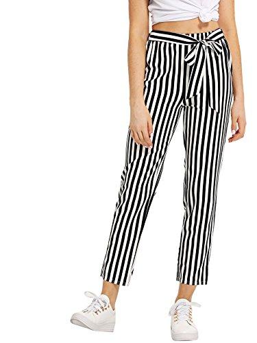 MAKEMECHIC Women's Striped Slim Straight Leg Elastic Waist Self Tie Casual Pants Black and White L