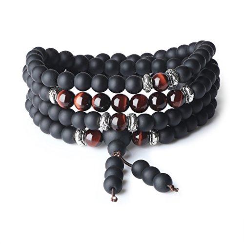 (AmorWing Tibetan 108 Mala Beads Red Tiger Eye Matte Onyx Semi Precious Stones Bracelet/Necklace 6mm)