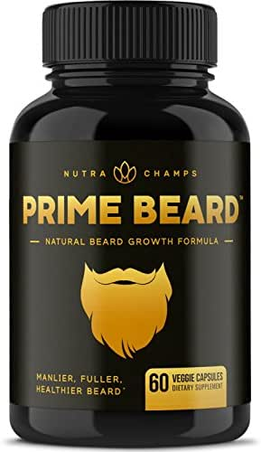 Prime Beard Beard Growth Vitamins Supplement for Men - Thicker, Fuller, Manlier Hair - Scientifically Designed Pills with Biotin, Collagen, Zinc & More! - for All Facial Hair Types - Veggie Capsules