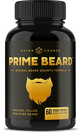 Prime Beard Beard Growth Vitamins Supplement for Men - Thicker, Fuller, Manlier Hair - Scientifically Designed Pills with Biotin, Collagen, Zinc & More! - for All Facial Hair Types - Veggie Capsules (Products To Help My Hair Grow Faster)