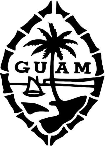 Mandy Graphics Guam Island Palm Tree Sailboat Vinyl Die Cut Decal Sticker for Car Truck Motorcycle Windows Bumper Wall Home Office Decor Size- [6 inch/15 cm] Tall and Color- Gloss Black