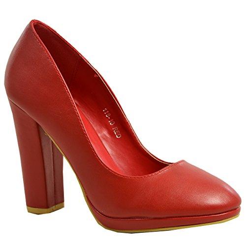 Sizes On UK Slip Cucu Platform Red High Shoes Ladies Pumps Court Block New Fashion Womens Heel 6wnpOq
