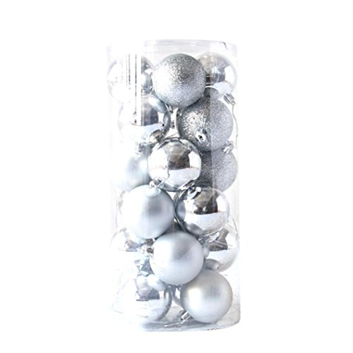 Silver Christmas Matte Ornaments (Kintaz Christmas Tree Decorative Hanging Christmas Baubles Balls Ornaments Set with Classic Matte Glaze Glitter for Holiday Wedding Party Decoration, Tree Ornaments Hook - 24 Pieces (Silver))