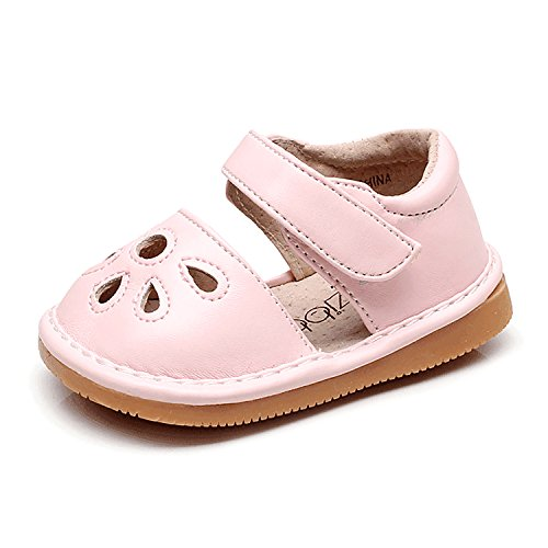 - UBELLA Toddler Sandals Squeaky Shoes Flower Punch Mary Jane Toddler Girl Flats (Removable Squeakers) Pink