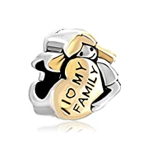 I Love My Family Heart Mother American Girl Silver/Gold Plated Beads Fit Pandora Bracelet