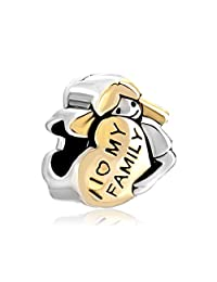 Sterling Silver Heart I Love My Family Babygirl Hugging Heart Charm Bead Sale Cheap Fit Pandora Bracelets