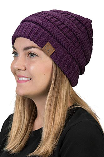 H-6020a-40 Solid Ribbed Beanie - Purple, One Size Fits Most (Girls Hats Flat For)