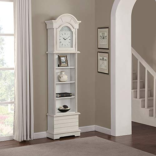"FirsTime & Co. 31064 Shiplap Grandfather Wall Clock 72"" x 19"" x 9"" Shabby White"