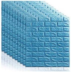 Papier peint 3D auto-adh/ésif vinyle wallboard stripe brique imperm/éable mousse carrelage p/âte 10 pi/èces multicolore 70cmx77cm Color : Blue