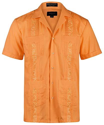 (Ward St Men's Short Sleeve Cuban Guayabera, 3XL, 19-19.5N, Orange)