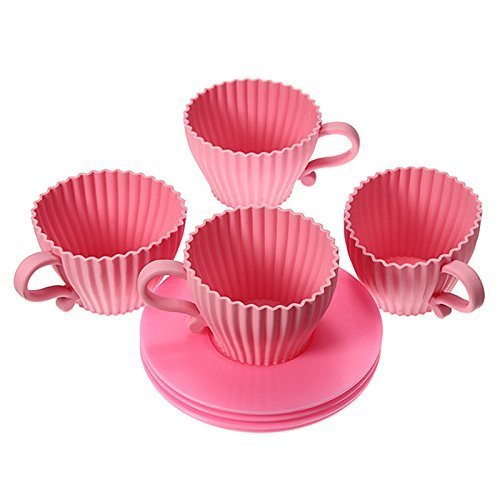 Teacup Cupcake Molds, Gifts for Mom and Girls, 4 Pink Molds & Saucers, Great Reviews, Silicone Bake & Serve
