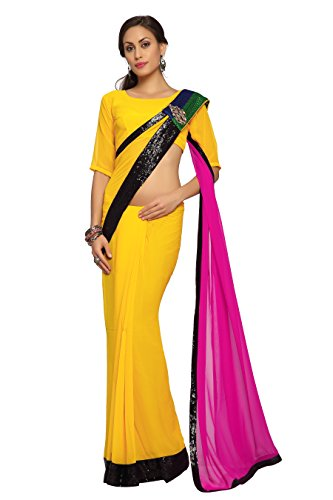 Bollywood-Womens-Indian-Ethnic-Designer-Yellow-Magenta-color-Faux-georgette-Party-Wedding-Sarees-With-Saree-Blouse-Unstitched