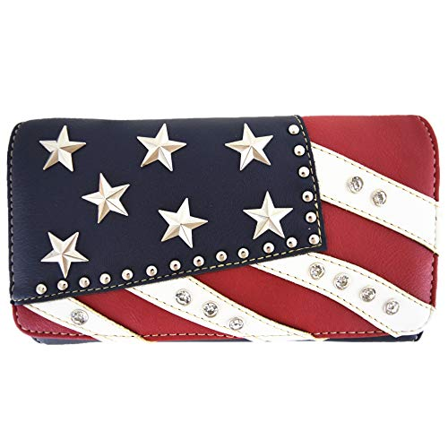American Flag Stars and Stripes Western Country Purse Single Shoulder Bags Women Blocking Wristlet Wallet (Red Navy White)