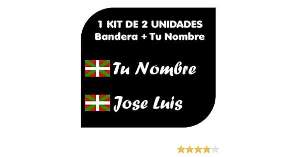 Nombre Personalizado Ikurriña Pegatina Vinilo Bandera Pais Vasco