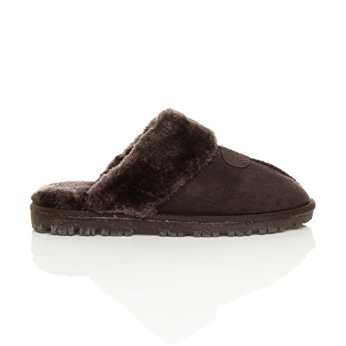 Womens low Brown lined size flat on heel luxury Fur fur slippers ladies slip mules winter Brown xxaHBw
