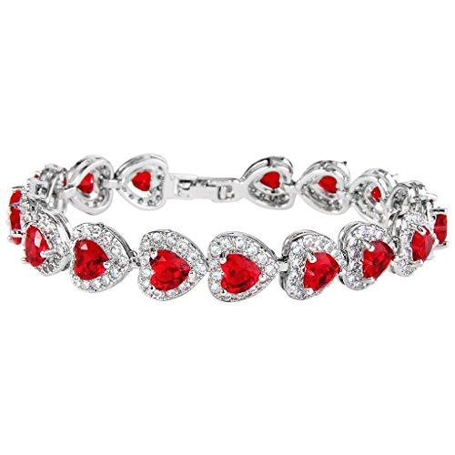 EVER FAITH Women's Full Zircon Elegant Heart-Shaped Roman Tennis Bracelet Red Silver-Tone