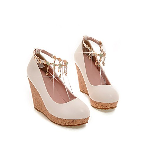 Womens toe Print Wood Wedge Shoes Pump Round Metal Chains Dress White Heel Strap High Heels AIWEIYi Ankle dqYXEwd