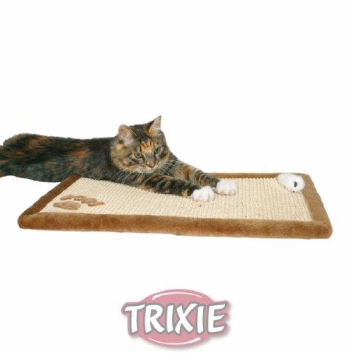 Trixie 4325 Kratzmatte Sisal mit Plüschrand, 55 x 35 cm, braun