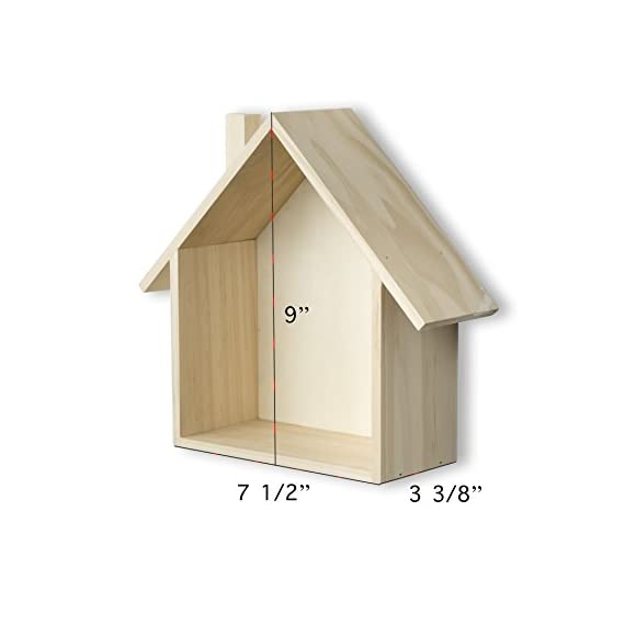 brightmaison Petite House Shape Wood Wall Shelf Display Hanging Shelving No Finish (No Finish) - This house shelf makes the perfect display for your little treasures Cute mini house shape shadow box will brighten any room in your house or office Can be wall hung or displayed free standing (same color finished back as seen in the photo) - wall-shelves, living-room-furniture, living-room - 41EKkudfMiL. SS570  -