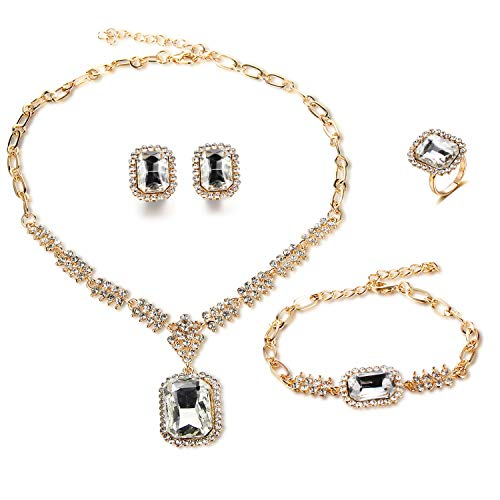 FAUOI Wedding 18k Gold Plated Rhinestone Crystal Bib Statement Necklace Earrings Set Africa Jewelry Sets for Brides Party Prom