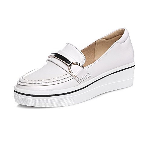 Round White Shoes Women's Closed Pumps Toe Heels Solid Pull On Kitten WeenFashion YPvqwBv