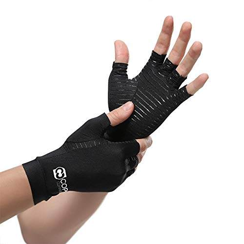 Copper Compression Arthritis Gloves - Guaranteed Highest Copper Content. Best Copper Infused Fit Glove for Women and Men. Carpal Tunnel, Computer Typing, and Everyday Support for Hands (1 Pair) ()