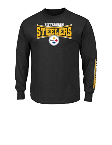 NFL Pittsburgh Steelers Men's Long Sleeve Crew Neck Fleece Tee, Large, Black