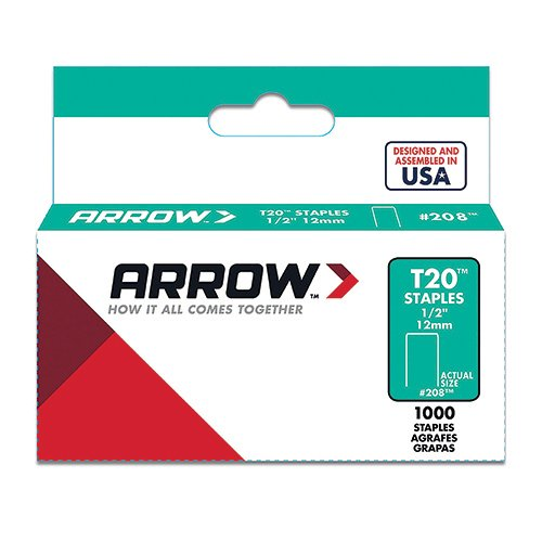 Arrow Fastener 208 Genuine T20 1/2-Inch Staples, 1,000-Pack