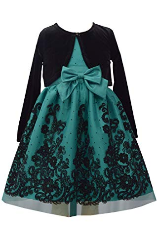 Bonnie Jean Green Christmas Dress with Black Cardigan for Toddler, Little and Big Girls